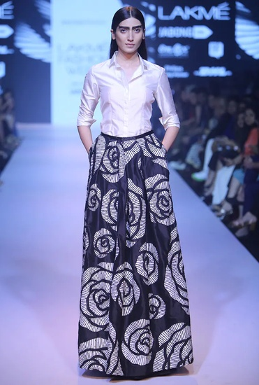 Latest Collection of Black rose cutwork ball skirt by Nachiket Barve