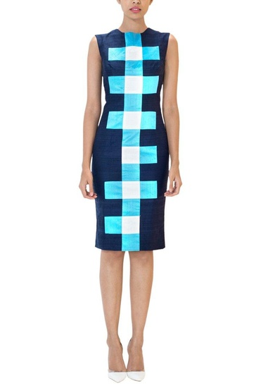 Latest Collection of Navy blue checked sheath dress by Urvashi Joneja