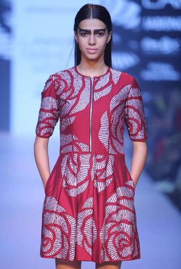 Latest Collection of Marsala rose cutwork pleated dress by Nachiket Barve