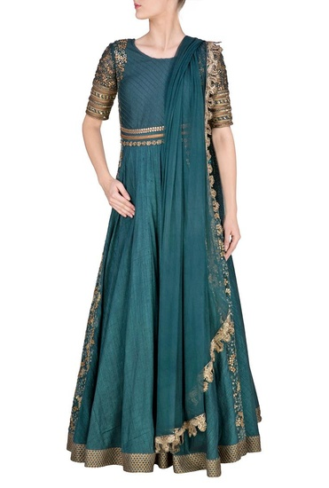Latest Collection of Teal embroidered anarkali with matching dupatta by Ridhima Bhasin