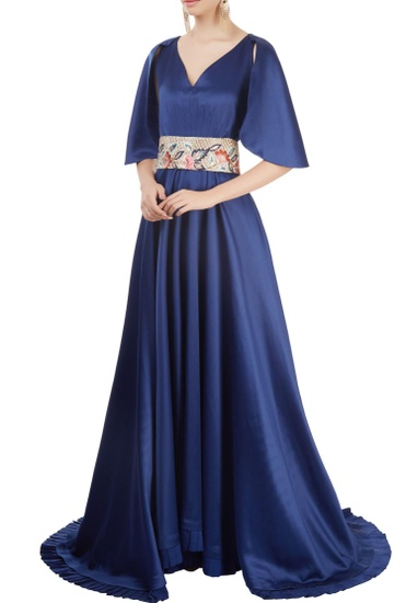 Latest Collection of Royal blue gown with belt by Manish Malhotra
