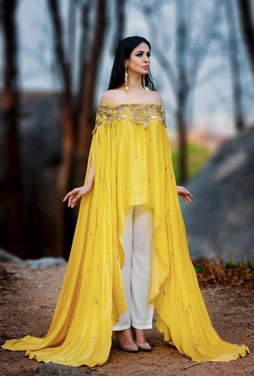 Latest Collection of Sunflower yellow off shoulder kurta set by Prathyusha Garimella