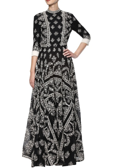 Latest Collection of Black hand embroidered dress by Rahul Mishra