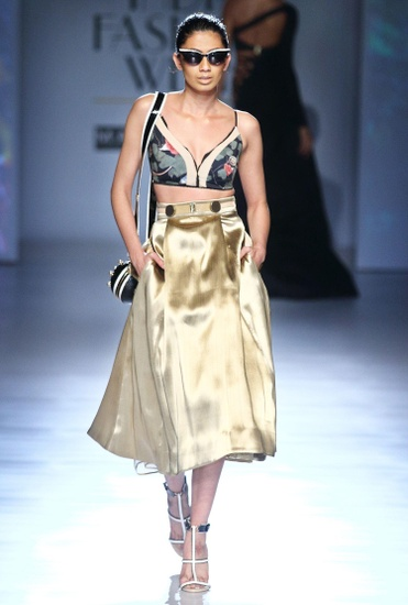 Latest Collection of Metallic gold brocade skirt by Shivan and Narresh