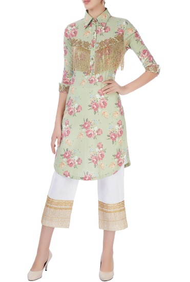 Latest Collection of Green embroidered  kurta with pants by Seema Khan