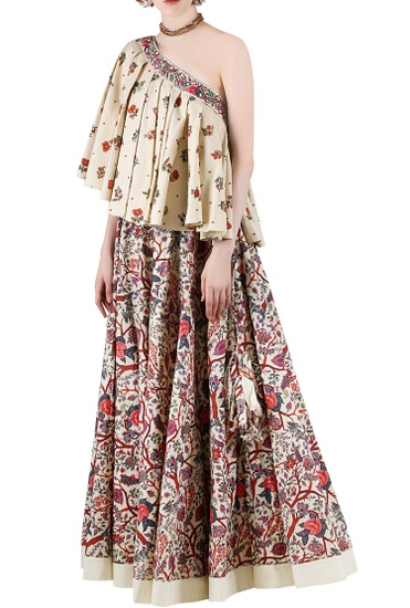 Latest Collection of Beige printed skirt set by Nikasha