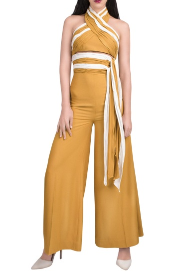 Latest Collection of Mustard yellow & white halter jumpsuit by Anome