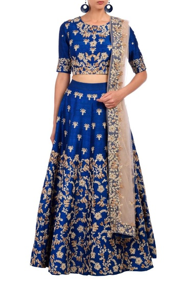 Latest Collection of Royal blue floral embroidered lehenga set  by Aneesh Agarwaal