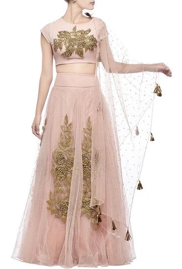 Latest Collection of Blush pink rose embroidered lehenga set  by Bhumika Sharma