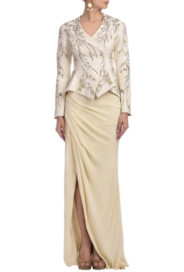 Latest Collection of Ivory embroidered jacket with draped skirt by Gaurav Gupta