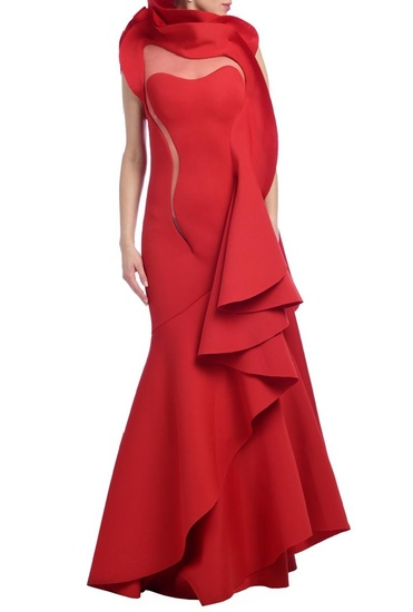 Latest Collection of Red ruffled gown by Gaurav Gupta