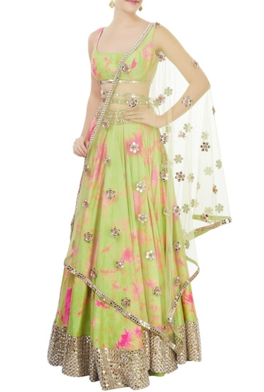 Latest Collection of Green & pink tie-dye lehenga set by Akanksha Gajria