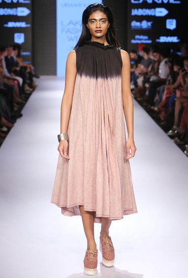 Latest Collection of Blush & black ombre pleated dress by Urvashi Kaur