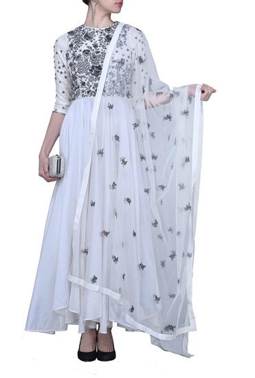 Latest Collection of Ivory and silver embroidered anarkali by Varun Bahl