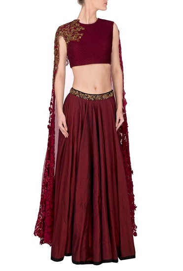 Latest Collection of Marsala embroidered lehenga with cape blouse by Ridhima Bhasin