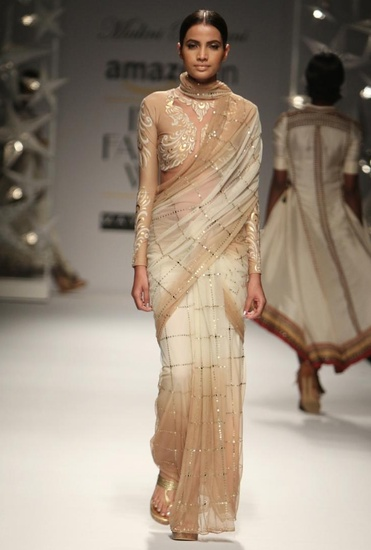 Latest Collection of Ivory & beige  peacock sequin sari  by Malini Ramani