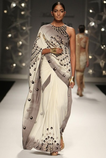 Latest Collection of Ivory & grey ombre peacock feather sari  by Malini Ramani