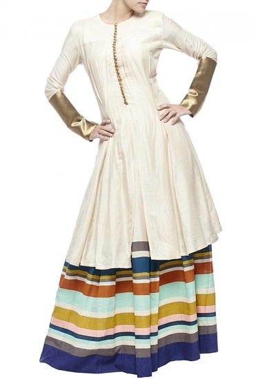 Latest Collection of Cream brocade tunic with multi-colored striped palazzos  by Manish Malhotra