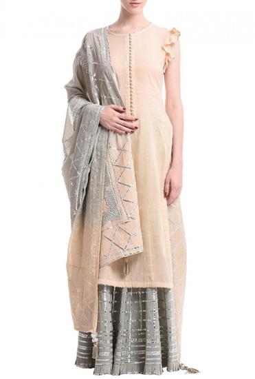Latest Collection of Pale peach & grey silver gota sharara set  by Sukriti & Aakriti