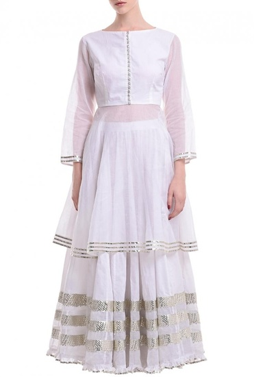 Latest Collection of Ivory & silver gota kurta with lehenga  by Sukriti & Aakriti