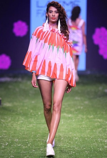 Latest Collection of Pink & red chilli printed one shoulder ruffled top  by Masaba