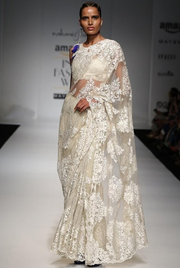 Latest Collection of Ivory floral lace sari  by Rabani & Rakha