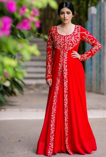 Latest Collection of Red & gold floral embroidered jacket with gown by Prathyusha Garimella