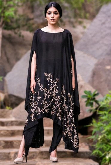 Latest Collection of Black sunflower embellished cape with black dhoti pants by Prathyusha Garimella