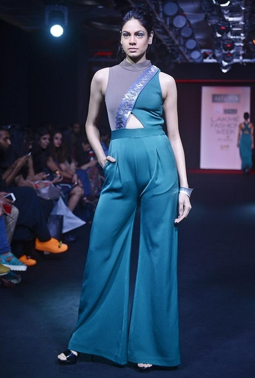 Latest Collection of Emerald green embroidered criss-cross  jumpsuit by Aalyxir