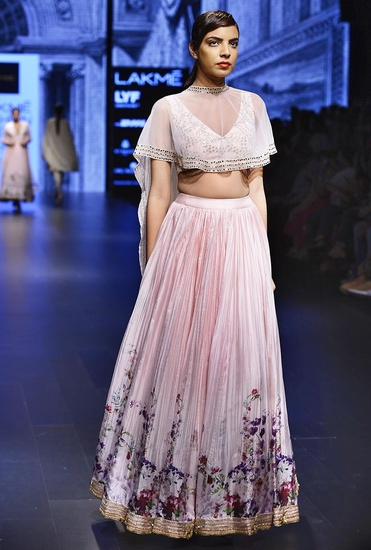 Latest Collection of Light pink embroidered lehenga set with cape by Ridhi Mehra