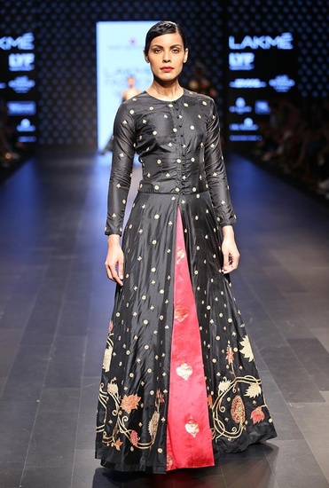 Latest Collection of Embroidered pink dress skirt by Swati Vijaivargie