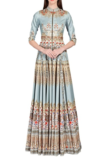Latest Collection of Light blue digital baroque printed anarkali by Falguni Shane Peacock