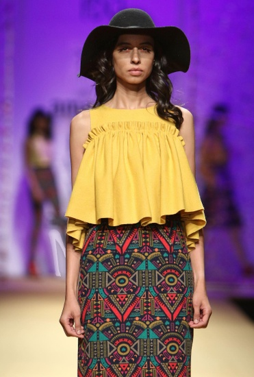 Latest Collection of Mustard flared top by Reynu Taandon