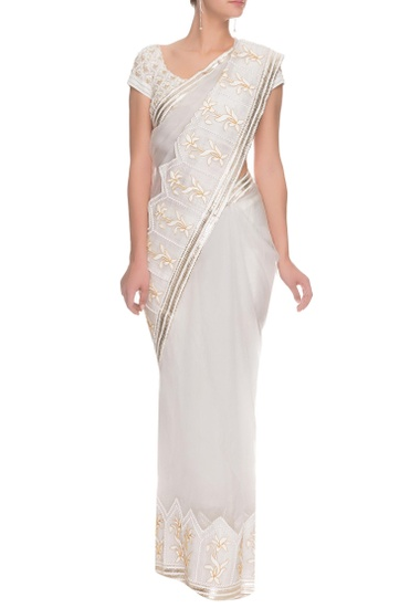 Latest Collection of Ivory floral embroidered sari by Tisha Saksena