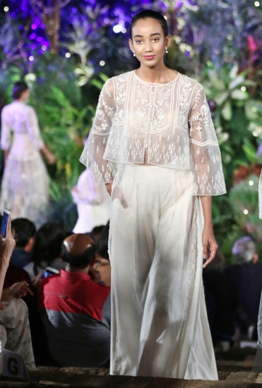 Latest Collection of  Ivory embellished crop top, tunic & pants  by Anita Dongre