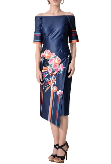Latest Collection of Midnight blue off-shoulder midi dress by Tanieya Khanuja
