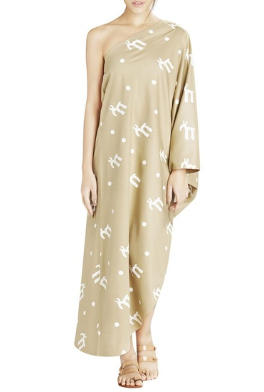 Latest Collection of Khaki one shoulder dress by Masaba