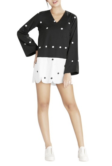Latest Collection of Black & white scalloped dress by Masaba