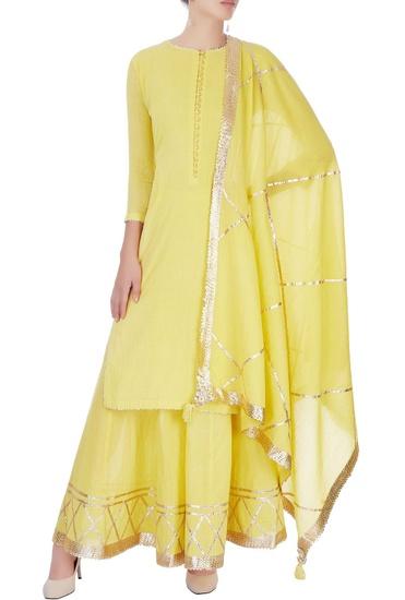 Latest Collection of Yellow kurta set with tassels by Sukriti & Aakriti