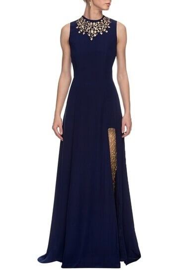 Latest Collection of Navy blue embroidered anarkali with churidar  by Nikhil Thampi
