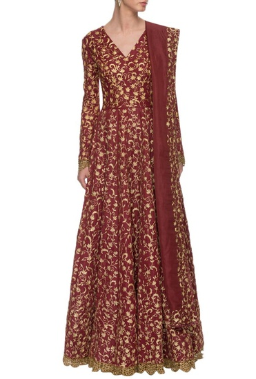 Latest Collection of Maroon embroidered V-neck anarkali with dupatta by Nikhil Thampi