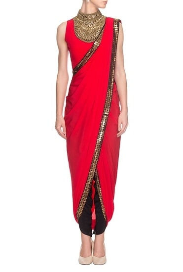 Latest Collection of Red embroidered draped sari with blouse by Roshni Chopra