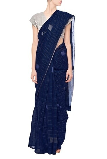 Latest Collection of Berry blue grid linen sari by Anavila