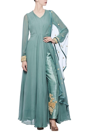 Latest Collection of Teal zardosi embroidered anarkali set by Bhumika Sharma