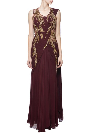 Latest Collection of Wine & gold foliage embellished sari gown by Gaurav Gupta