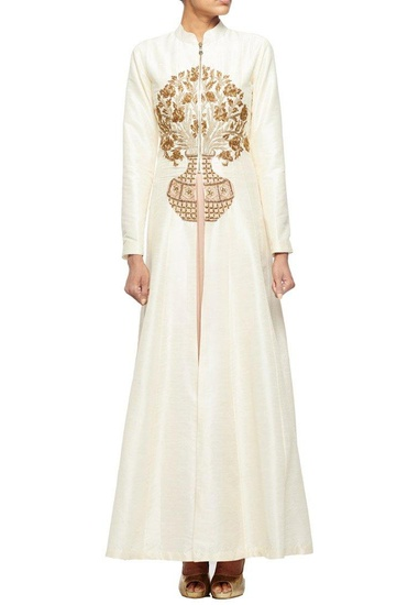 Latest Collection of White raw embroidered jacket with old rose georgette inner by SVA