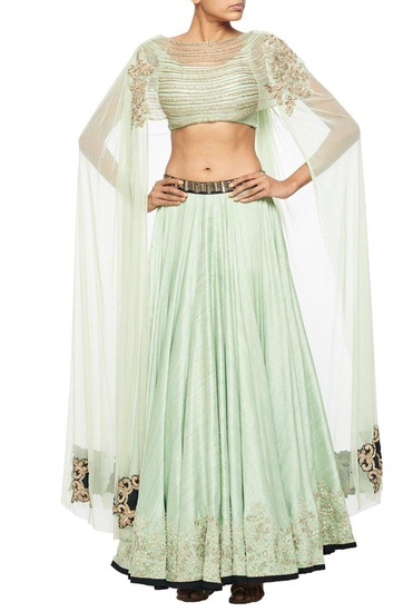 Latest Collection of Mint green embroidered lehenga with extended cape blouse by Ridhima Bhasin