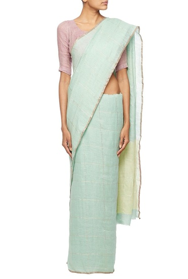 Latest Collection of Mint green linen sari  by Anavila