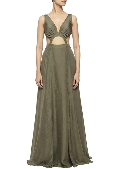 Latest Collection of Olive green silk cut out maxi dress by Deme by Gabriella