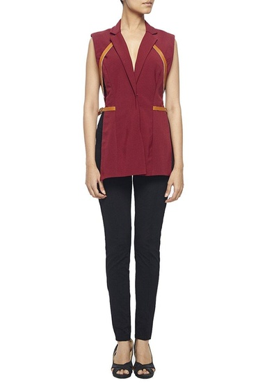 Latest Collection of Marsala side cut out blazer with tan leather straps by Nikhil Thampi